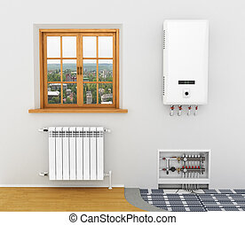White radiator, boiler of central heating is system Heating ...