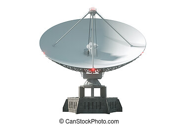 White radio telescope, a large satellite dish isolated on a white background. Technology concept, search for extraterrestrial life, wiretap of space. 3D rendering, 3D visualization, 3D illustration.
