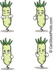 White radish character cartoon set