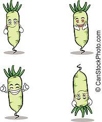 White radish character vegetable set