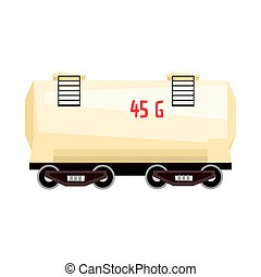 White railroad tank wagon. Colorful cartoon illustration