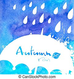 White rain and umbrella on watercolor painted background