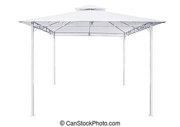 White rain tent.