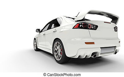 White Rally Car Back Side View