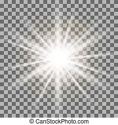 White rays light effect isolated on transparent background....
