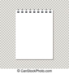 white realistic notebook