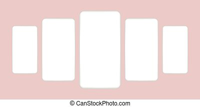 White realistic smartphones with blank screen. Mockup clay mobile phones. Vector