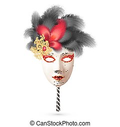 White realistic vector carnival mask with black and red feathers