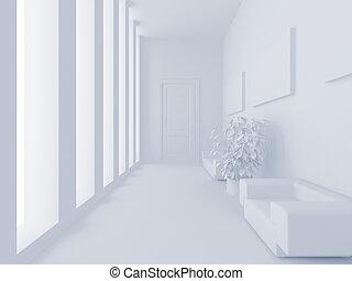 White reception - High resolution image interior. 3d ...