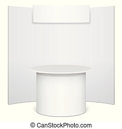 White reception or information desk. Isolated on the white ...