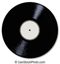 White Record Label - A typical LP vinyl record with a blank...