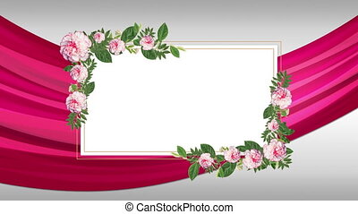 Animation of a white rectangle for copy decorated with green leaves and pink flowers against pleats of pink fabric on a white background. Romantic spring or summer seasonal greeting background concept