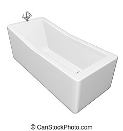 White rectangular bathtub with stainless steel fixtures,...