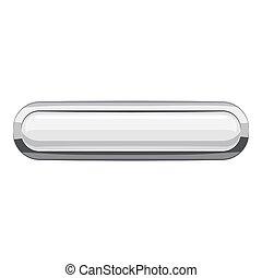 White rectangular button icon, cartoon style