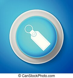White Rectangular key chain with ring for key icon isolated on blue background. Circle blue button with white line. Vector Illustration
