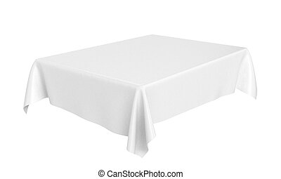White rectangular rounded tablecloth set isolated on white