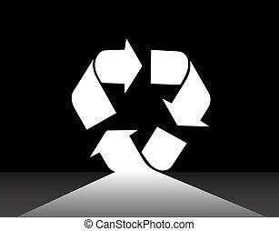 White recycle arrow symbol pathway with dark black background. recycling is the future concept illustration with a lonely road leading to bright white recycle shaped door