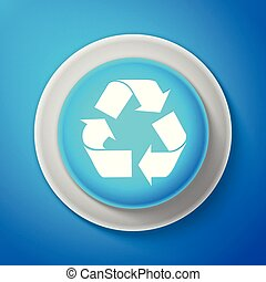 White Recycle symbol icon isolated on blue background. Environment recyclable go green. Circle blue button with white line. Vector Illustration
