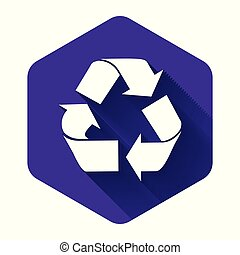 White Recycle symbol icon isolated with long shadow. Circular arrow icon. Environment recyclable go green. Purple hexagon button. Vector Illustration