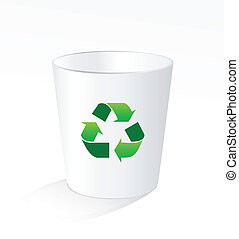 White recycle trash garbage bin with green recycle sign on white background
