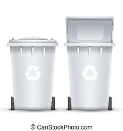 White Recycling Bin Bucket Vector For Trash. Opened And Closed. Front View. Sign Arrow. Isolated Illustration