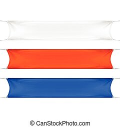 White, Red and Blue Blank Empty Banners
