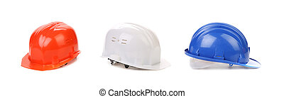 White red and blue hard hats.