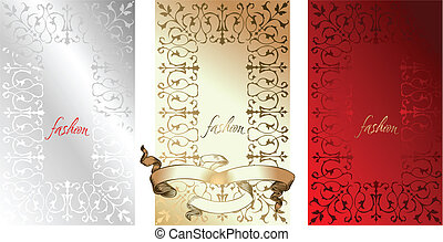 White Red Gold Fashion Backgrounds. Vector Illustration.