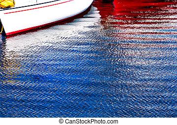 White Red Sailboat Reflection Gig Harbor Washington State