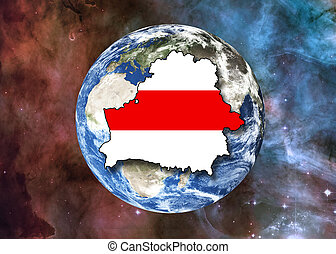 White red white Belarus contour on Planet Earth in the space