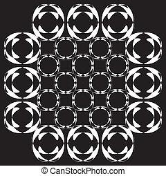 White redundancy photographycal illusion on black background