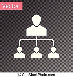 White Referral marketing icon isolated on transparent background. Network marketing, business partnership, referral program strategy. Vector Illustration