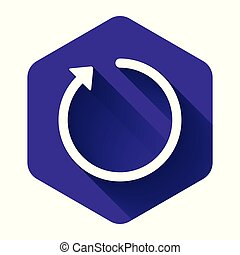 White Refresh icon isolated with long shadow. Purple hexagon button. Vector Illustration