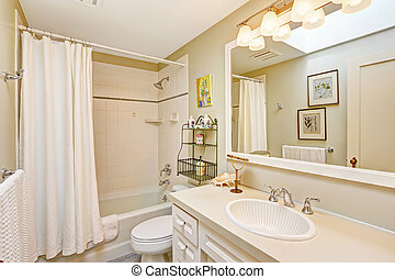 White refreshing bathroom with cabinet and mirror