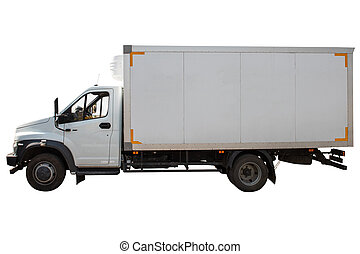 White refrigerated truck side view isolated on white