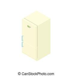White refrigerator icon, cartoon style