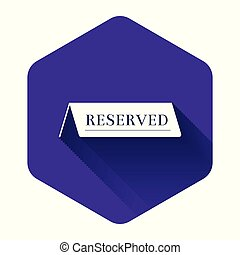 White Reserved icon isolated with long shadow. Purple hexagon button. Vector Illustration