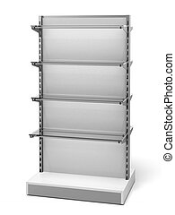 White Retail Store Shelves isolated on a white background. 3d render