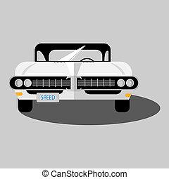 White retro car isolated