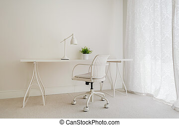 White retro desk in pure empty interior