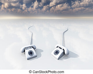 white retro phones in surreal space