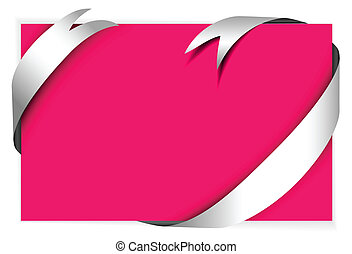 White ribbon around blank pink paper (where you should write...