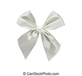 White ribbon bow isolated