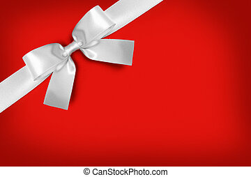White ribbon bow on red