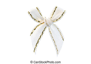white ribbon bow.