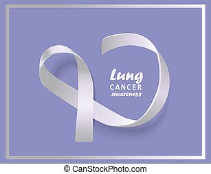 White ribbon symbol for lung cancer awareness charity event