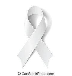 White ribbon. - White awareness ribbon isolated on white ...