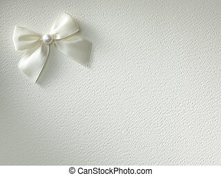 White ribbon with bow on a background