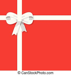 White ribbon with bow on red background