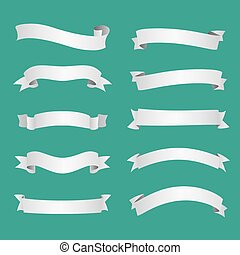 White ribbons set vector illustration